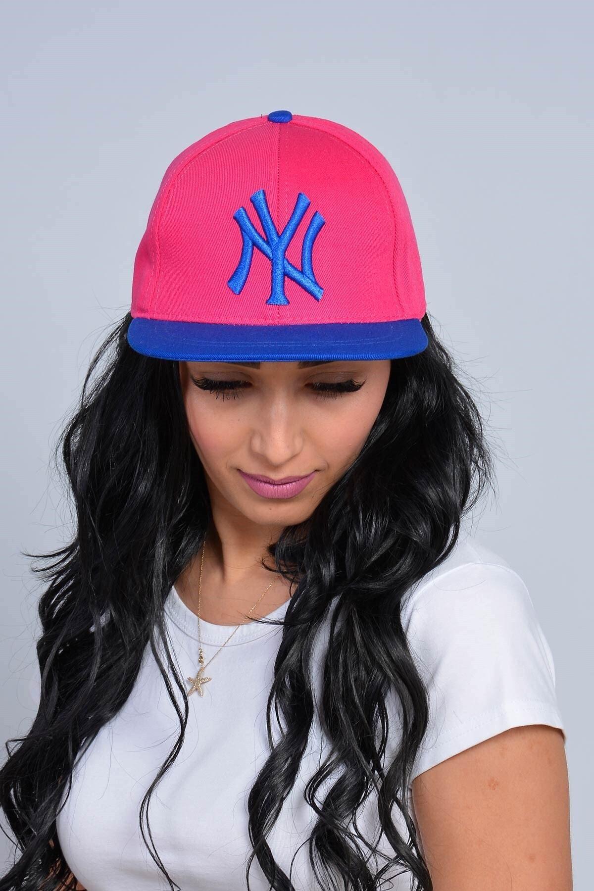 Mossta Kadın Pembe New York NY Baskılı Snapback Kep 1