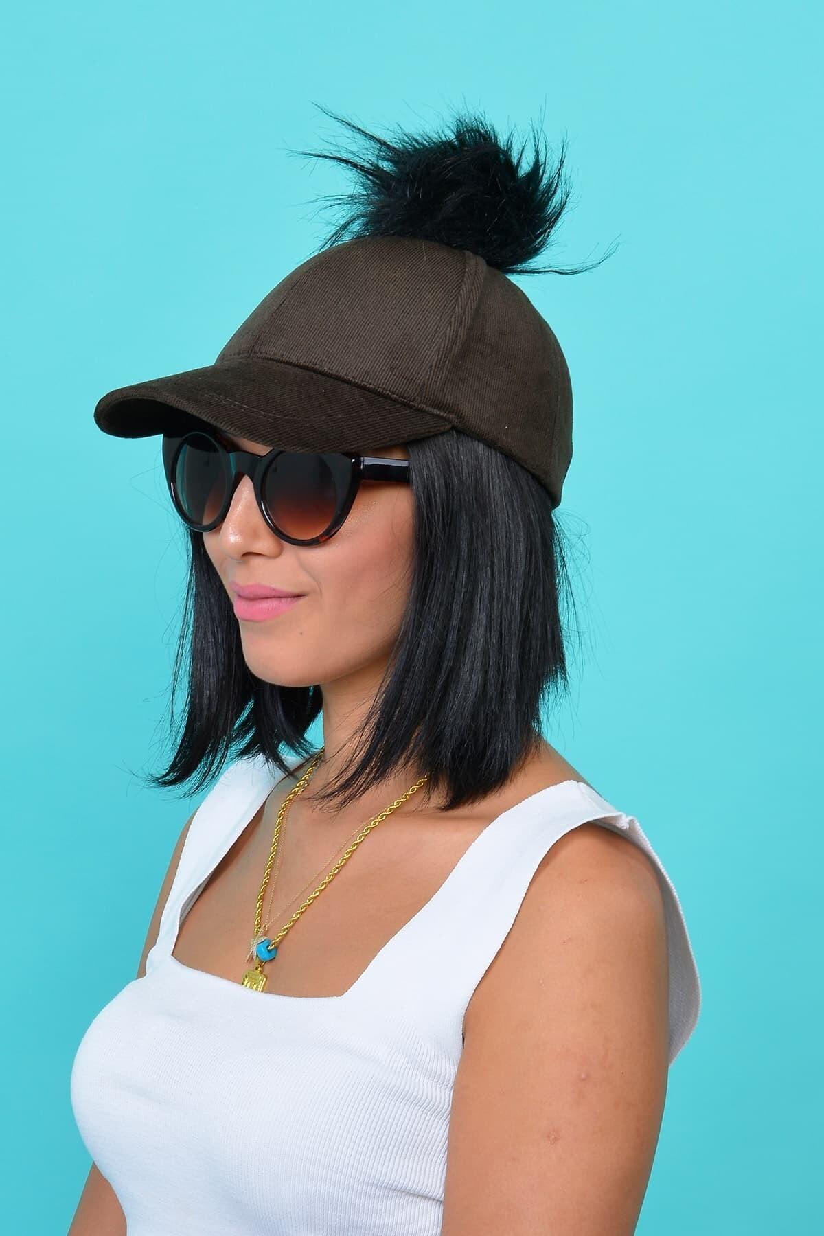 Mossta Kadın Kahve Kadife Ponponlu Şapka 1