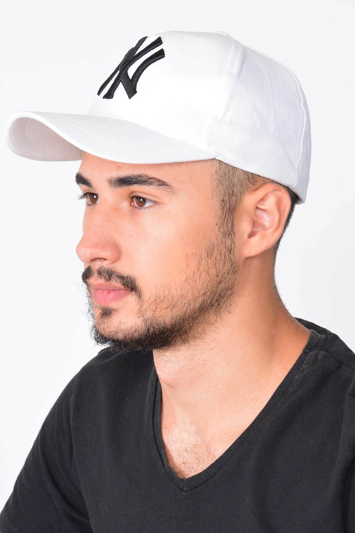 Mossta Erkek Beyaz New York Ny Nakışlı Şapka 1