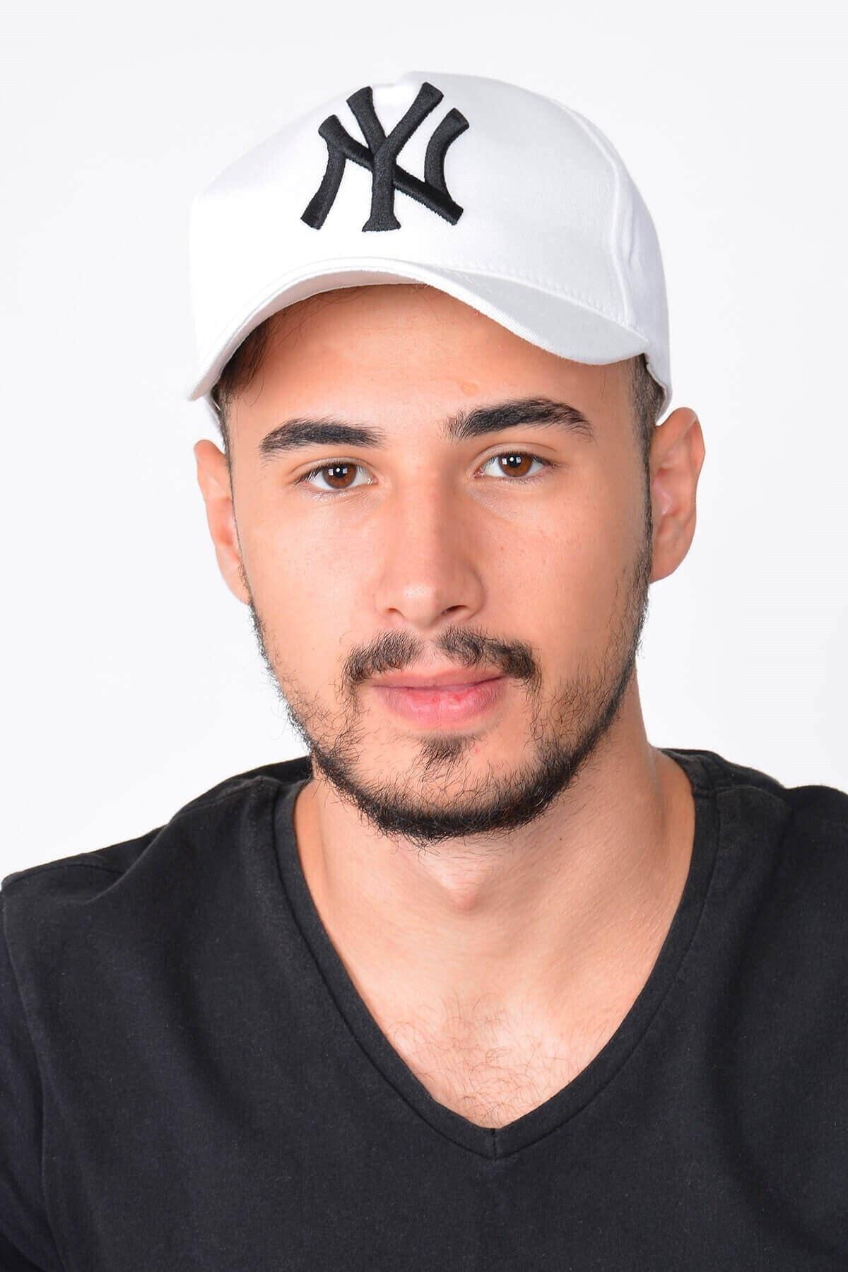 Mossta Erkek Beyaz New York Ny Nakışlı Şapka 2