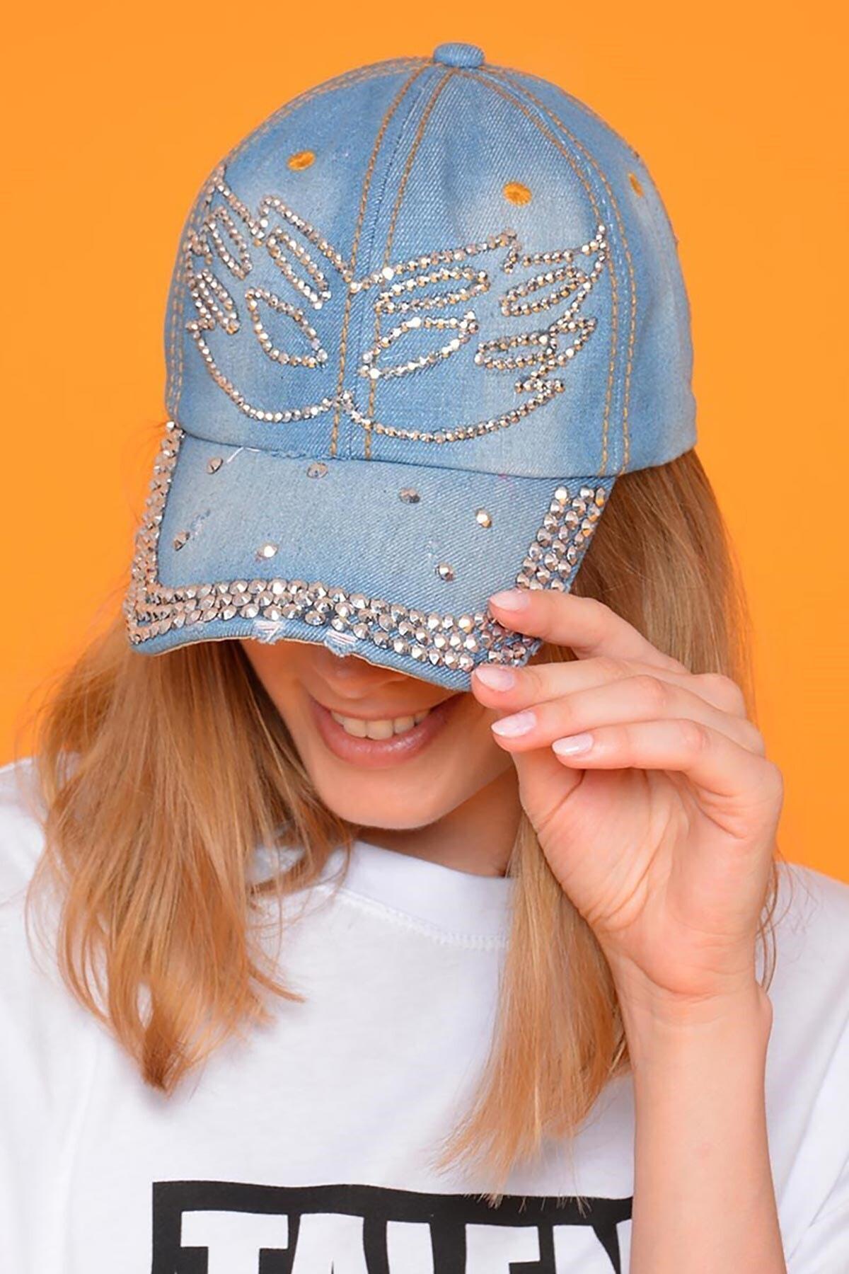 Mossta Kadın Mavi Maske Taşlı Kot Şapka 2