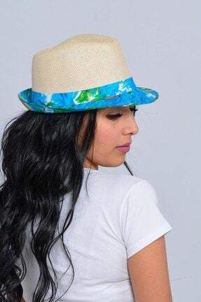 Mossta Unisex Bej Yelken Şeritli Hasır Şapka
