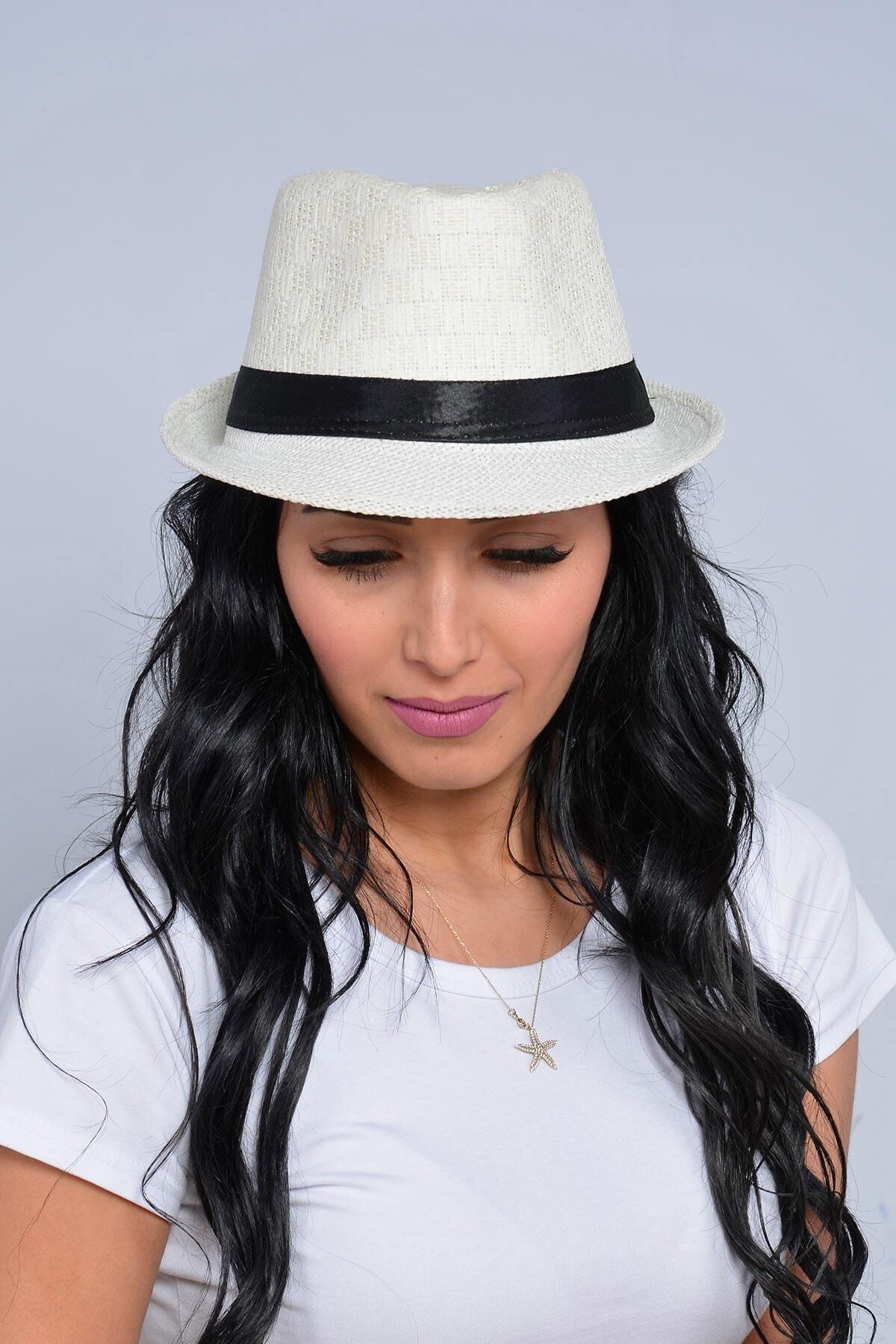 Mossta Kadın Ekru Şeritli Hasır Şapka 2