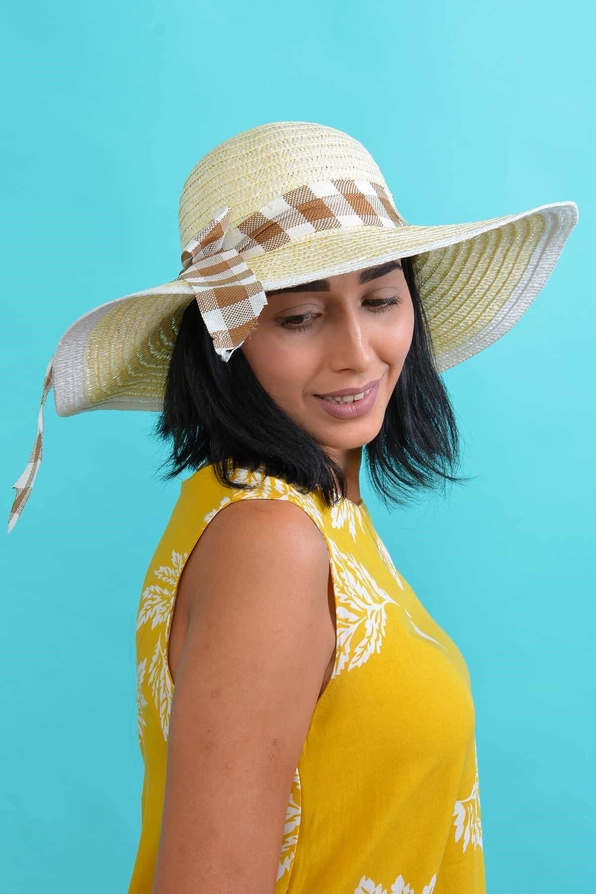 Mossta Kadın Krem Desenli Hasır Şapka 1