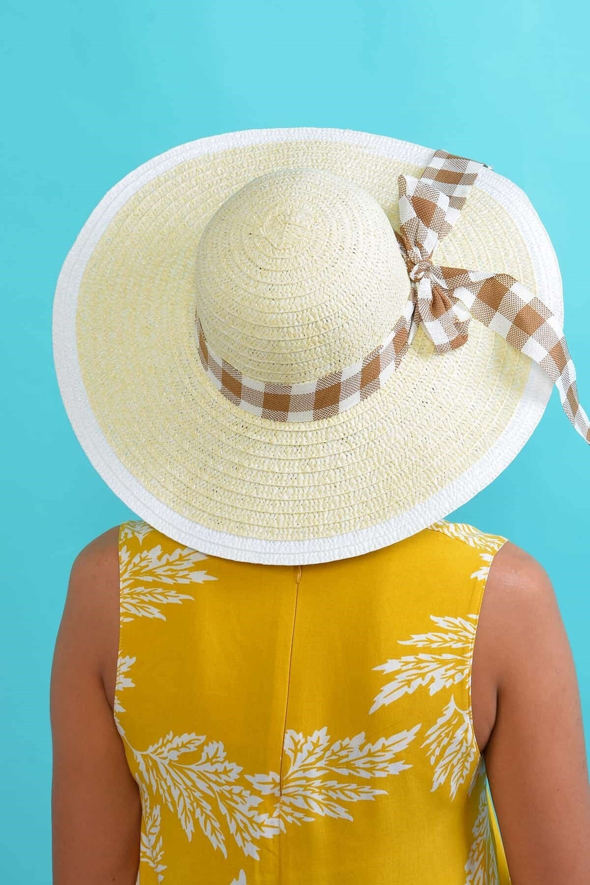 Mossta Kadın Krem Desenli Hasır Şapka 2