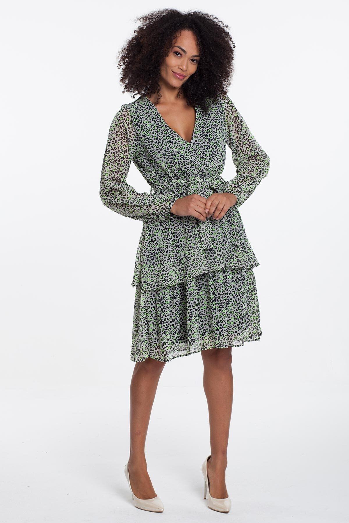 Mossta Kadın Bej Leopar Astarlı Şifon Elbise 2