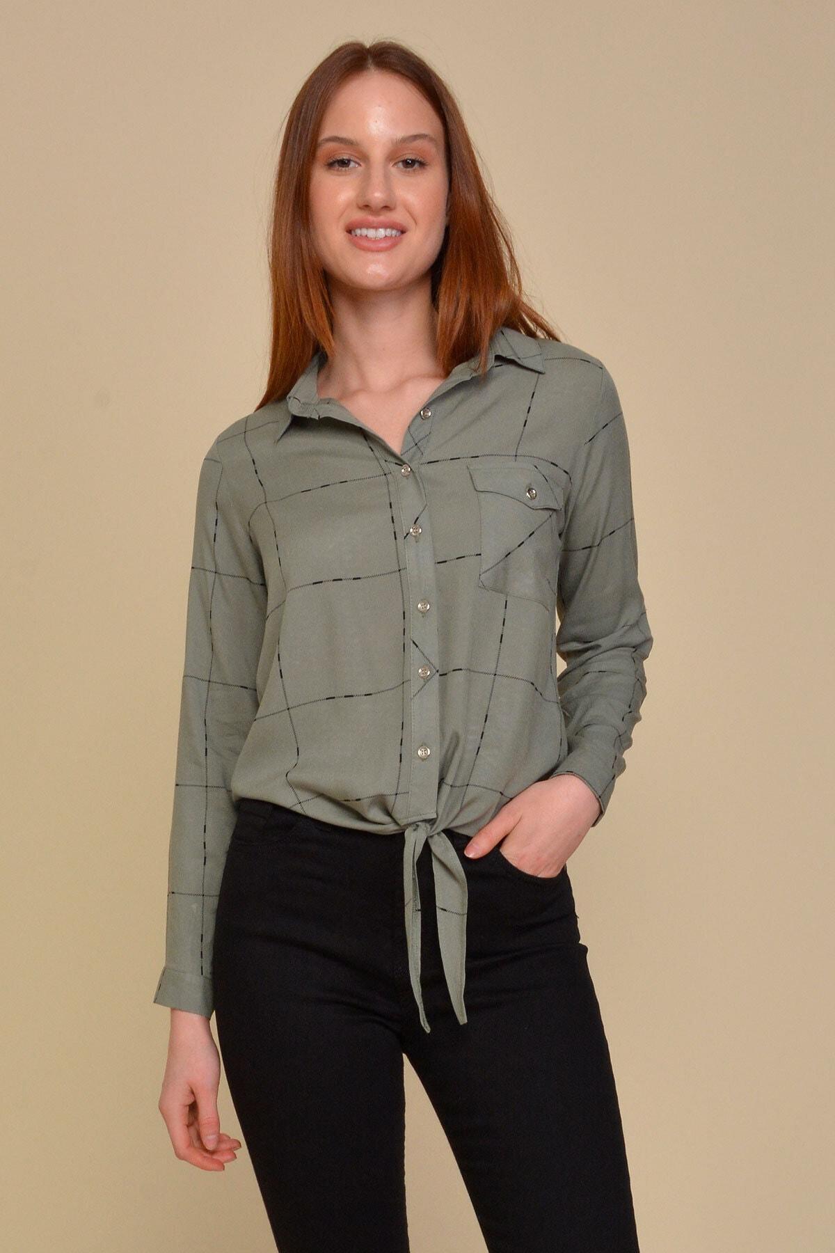 Mossta Kadın Haki Bağlamalı Gömlek 1