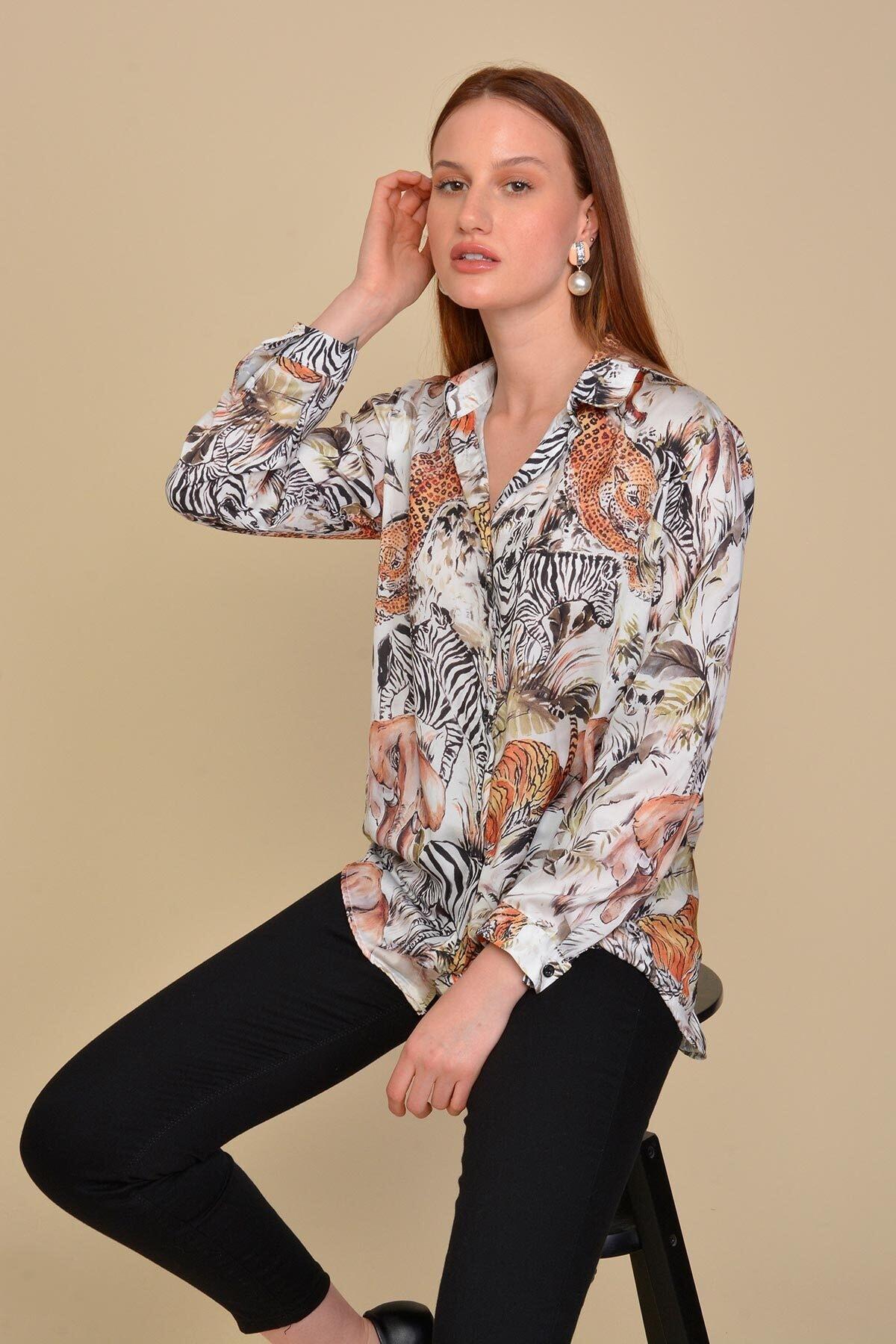 Mossta Kadın Bej Kaplan Desen Gömlek 1