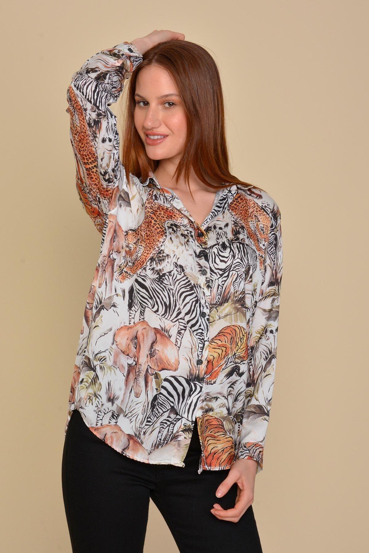 Mossta Kadın Bej Kaplan Desen Gömlek 2