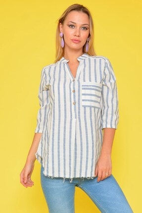 Mossta Kadın Bej Cep Detaylı Çizgili Gömlek