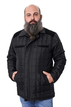 trendmany Erkek Siyah Büyük Beden Süet Işlemeli Içi Polarlı Mont