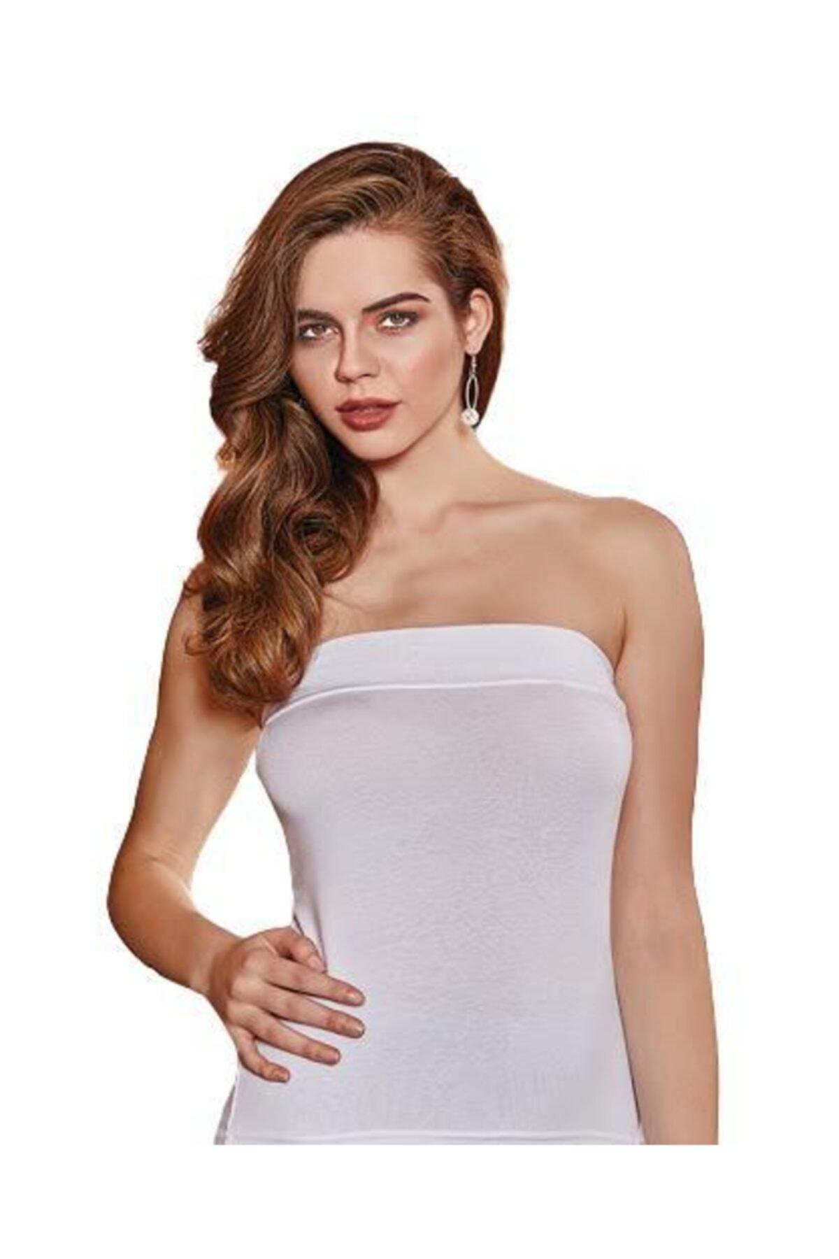 Berrak Kadın Beyaz Straplez Bluz 2608 1