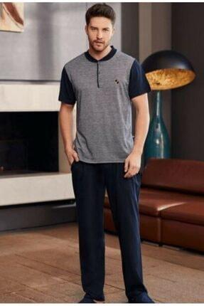 Mecit Pijama Erkek Lacivert Jakarlı Kısa Kol Pijama Takımı