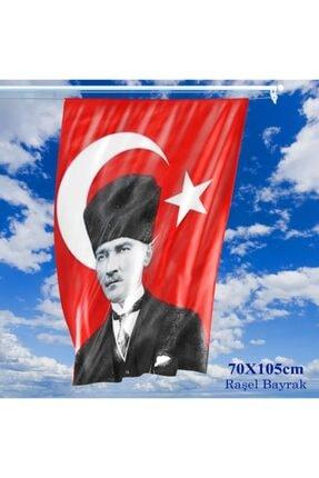 Asilmeydan 70x105 Cm Saten Kumaş T.c. Kalpaklı Atatürk Fotoğraflı Türkiye Bayrağı - Bayrak