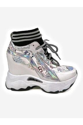 Meshure Gizli Dolgu Topuklu Çoraplı Bayan Ayakkabısı