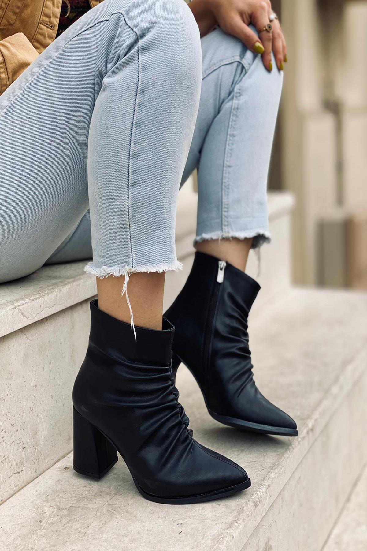 Mida Shoes Siyah Cilt Büzgülü Fermuarlı Bot 2