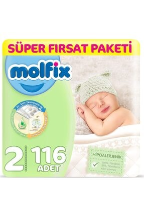 Molfix Bebek Bezi 2 Beden Yenidoğan Fırsat Paketi 3-6 Kg 116 Adet