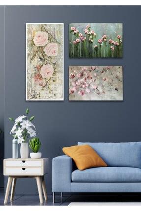 Hediyeler Kapında 3 Parça Çiçekli Kanvas Duvar Tablo