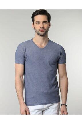 Tudors V Yaka Düz Mavi Oxford Erkek T-shirt