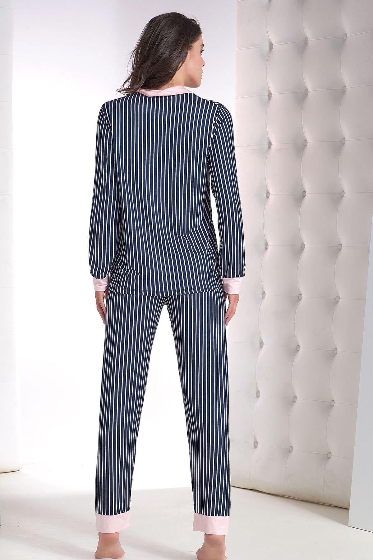 ZEY Kadın Lacivert Düğmeli Pijama Takım 2