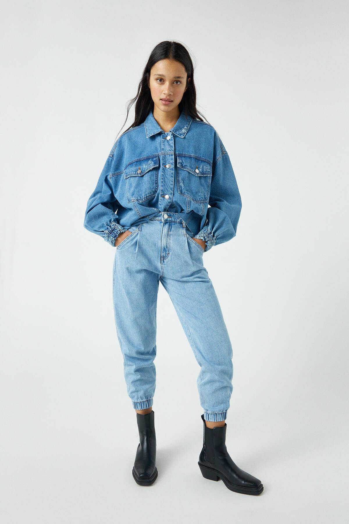 Pull & Bear Kadın Açık Mavi Elastik Paçalı Slouchy Jean 09689302