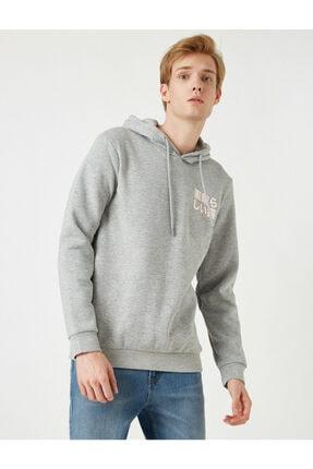 Koton Erkek Gri Kapüşonlu Baskılı Uzun Kollu Sweatshirt