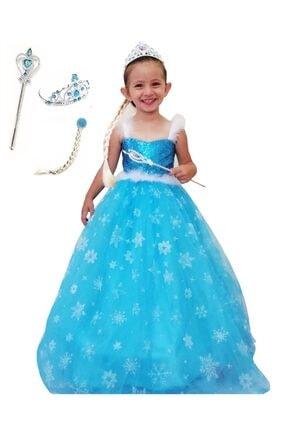 DEHAMODA Kız Çocuk Mavi Askılı Tarlatanlı Elbise Karlar Ülkesi Elsa Elbise