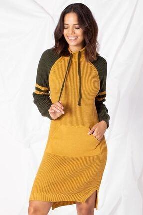 Zafoni Kadın Sarı Yaka Bağcıklı Kanguru Cep Triko Tunik