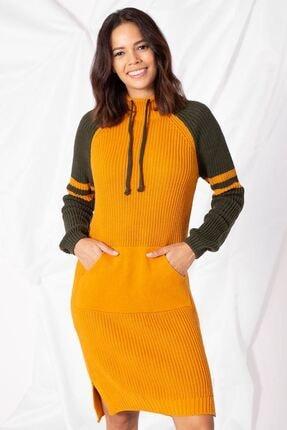 Zafoni Kadın Sarı Yaka Bağcıklı Kanguru Cep Hardal Triko Tunik