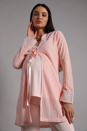 Lohusa Sepeti Kadın Pembe Sabahlıklı Lohusa Pijama Takımı