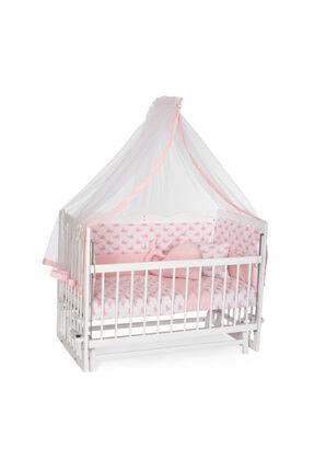 Bambidoo Beyaz 60x120 Anne Yanı Beşik Ahşap Sallanır Beşik 4 Kademeli - Pembe Balina Uyku Setli Yataklı