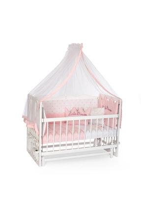 Bambidoo Beyaz 60x120 Anne Yanı Beşik Ahşap Sallanır Beşik 4 Kademeli - Pembe Nakışlı  Uyku Setli Yataklı