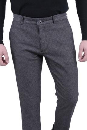 Canelia Erkek Siyah Örme Desenli Yan Cep Dar Kesim Pantolon