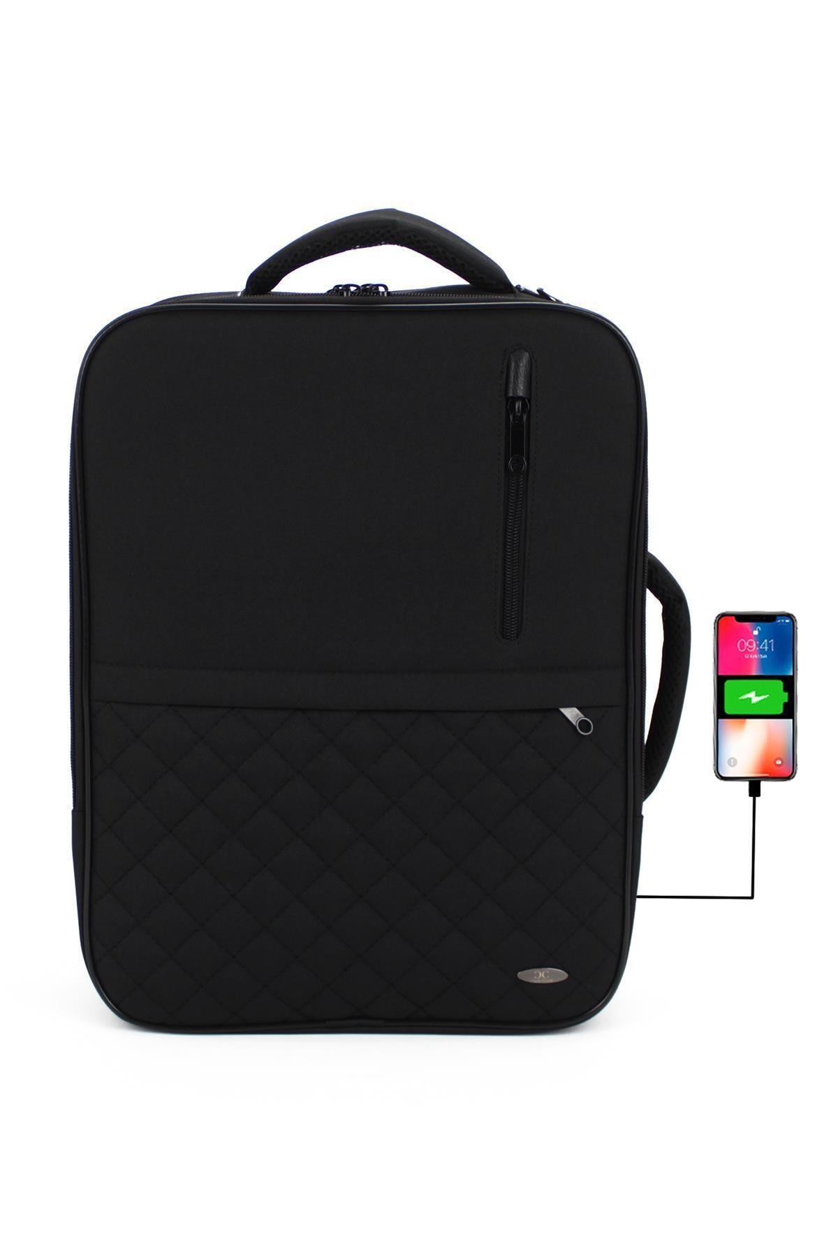 Case Club Unisex Laptop Sırt El Ve Omuz Çantası 15,6'' Usb Aparatlı Omuz Askılı Su Geçirmez Kumaş 1