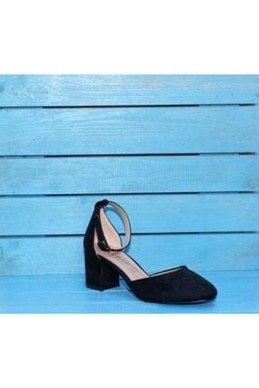 JAMASHOSE Kadın Açık Siyah Yumurta Burun Bilekten Bağlamalı Yanları Süet Topuklu Ayakkabı