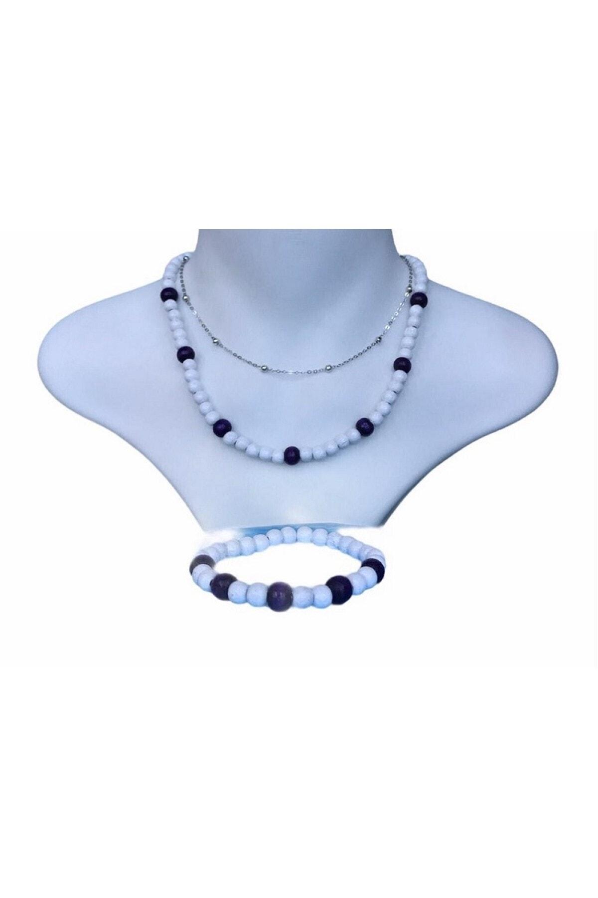 Selin 3 Lü Set - Rodyum Gümüş Kaplama Top Zinzirli + Ahşap Kolye Ve Bileklik ( Bayaza - Mor ) 1