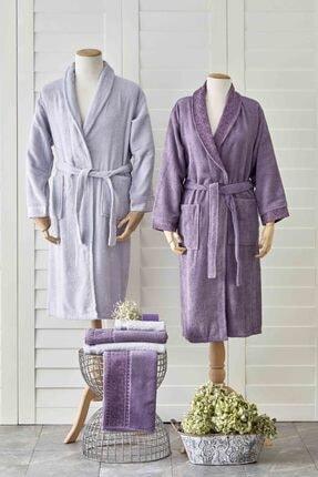 Karaca Home Keira Flos Mürdüm-Gri 6 Parça Aile Banyo Seti