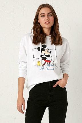 LC Waikiki Mickey Mouse Kadın Optik Beyaz E5X Sweatshirt