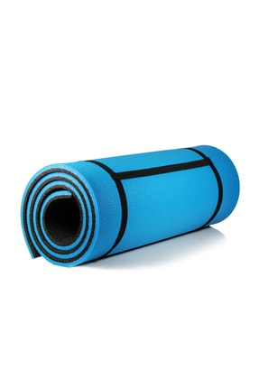 Walke 16 Mm Pilates Kamp Matı Mavi Siyah Taşıma Askılı