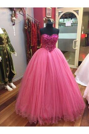 Özel Tasarım Kadın Pembe Kalp Yaka Nişan Elbisesi