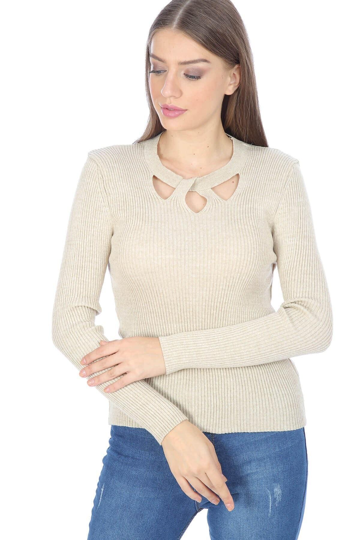 Mossta Kadın Bej Yaka Detaylı Triko Bluz 1