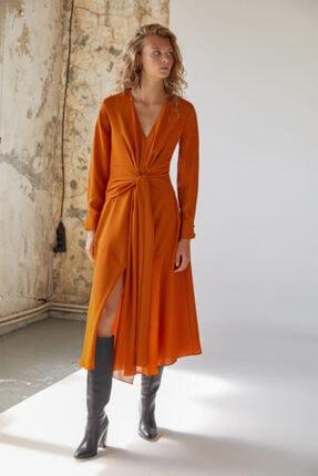 Urban Muse Kadın Turuncu Kuşaklı Midi Elbise