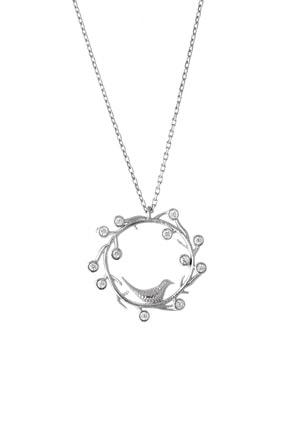 Afrodit Silver Kadın Gümüş Kuş Yuvası Tasarım Kolye