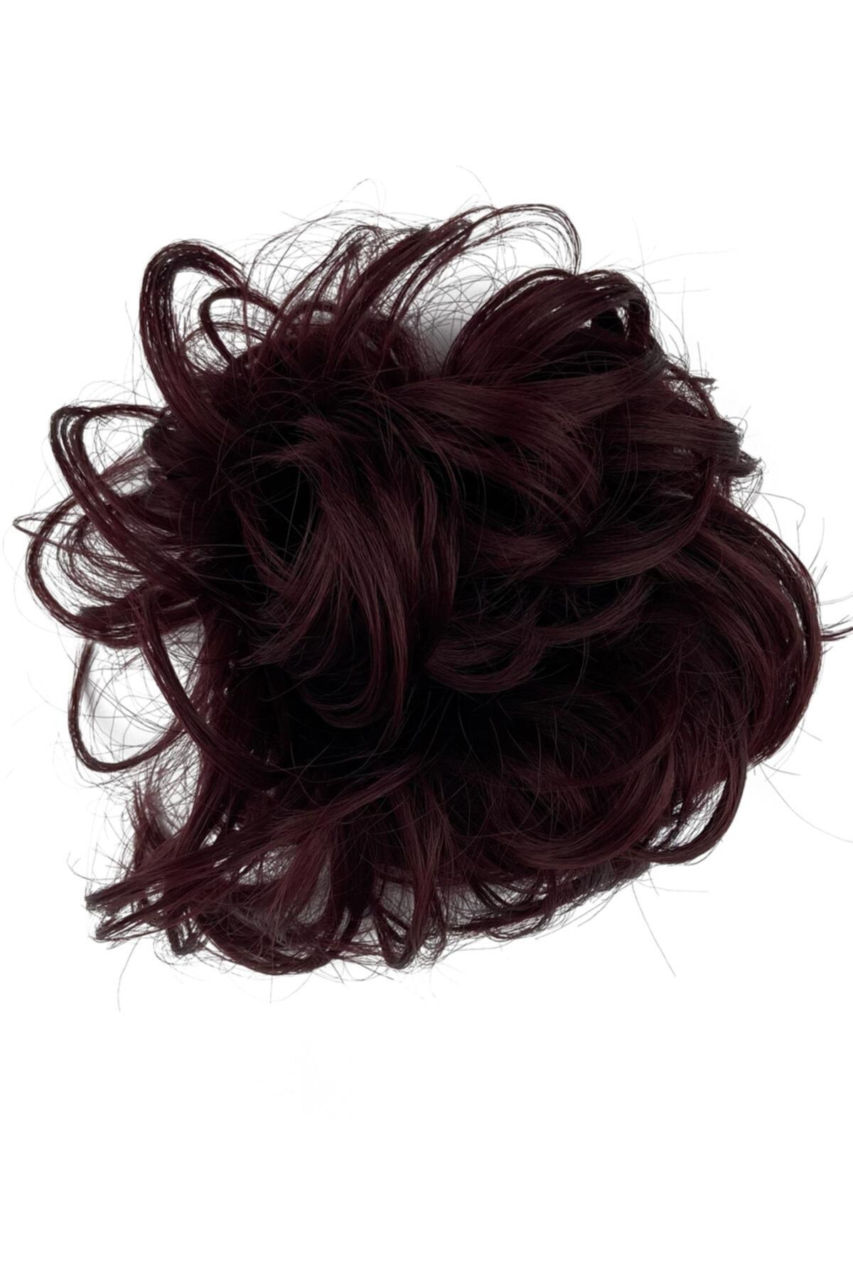 Eva Peruk Koyu Kızıl Saç Lastikli Topuz Toka 1