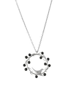Afrodit Silver Kadın Beyaz 925 Ayar Gümüş Kuş Yuvası Tasarım Kolye