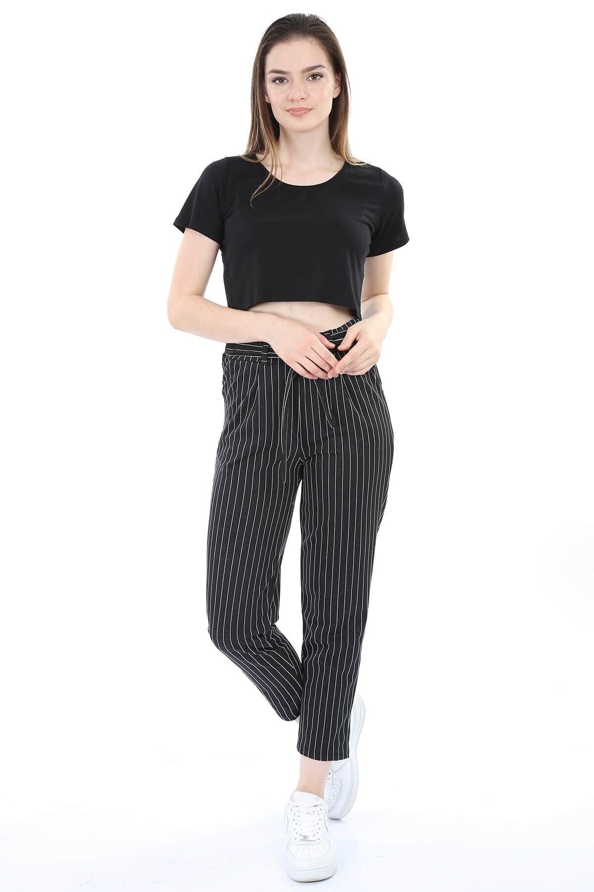 Mossta Kadın Siyah Kuşaklı Çizgili Pantolon 2