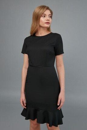 Journey Kadın Siyah Sıfır Yaka- Yaka Ve Bel Kesiti Biye Kombinli, Etek Altı Kısa Volanlı Elbise