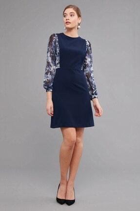 Journey Kadın Lacivert Sıfır Yaka Üst Beden Ve Kollar Desenli,şifon Kombinli, Saloped Görünümlü Elbise