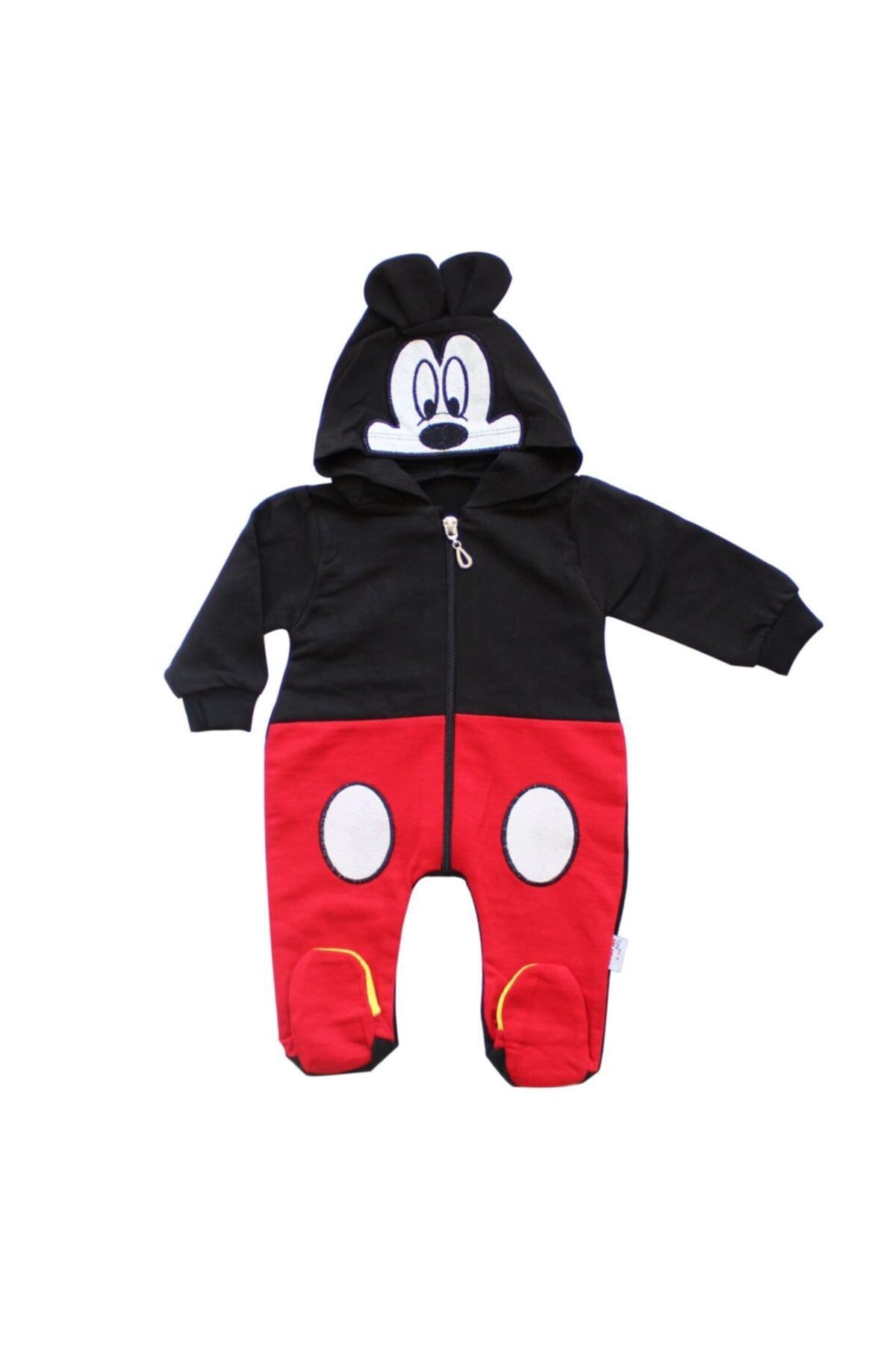 bebegen Mickey Kapşonlu Siyah Kırmızı Fermuarlı Tulum 1