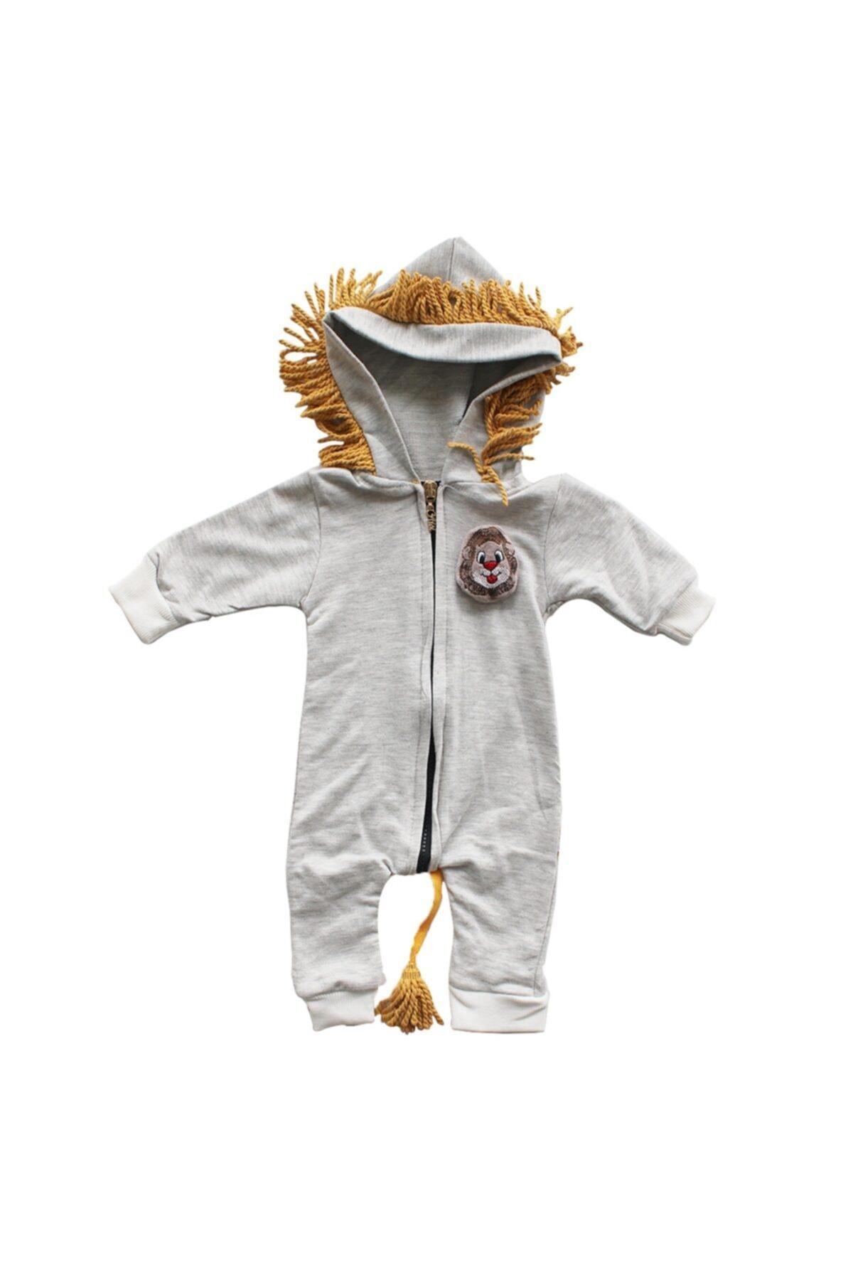 bebegen Unisex Bebek Gri Aslan Baskılı Püsküllü Tulum 1